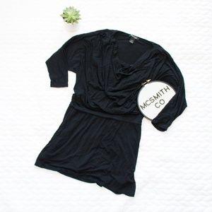 WHBM | Black 3/4 Sleeve Lined Jersey Knit Dress